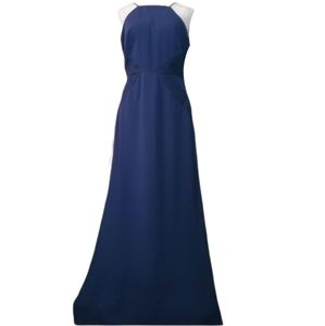 **Bill Levkoff 8 Navy Spaghetti Strap Formal Gown